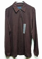 Mens Polo Shirt Andrew Fezza Casual Brown Long Sleeve Plaids & Checks Size S