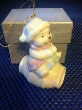 Christmas Ornament! Porcelain Tedy Bear with Scarf sitting on the barrel ~ 3.5""