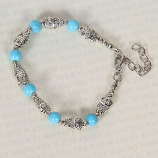 HOT Free shipping New Tibet silver multicolor jade turquoise bead bracelet S113B