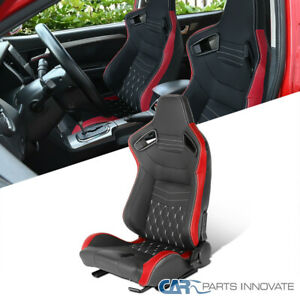 Driver Left Side Black/Red Carbon Fiber Look White Stitch Racing Seat w/ Sliders