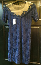 Navy Sexy Stunning Lace Mini Dress Sheen Lined Size XL May Be 14 16 Backless