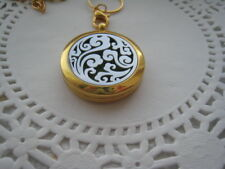 CLOUDS Aromatherapy Essential Oil Diffuser SS Gold Locket Necklace Chain 10 Pads