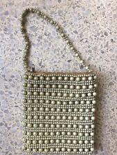 Bloomingdales Pearl Gold White Beaded Handled Bag Purse Tote Handbag Antique