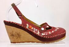 Ladies Womens ART Red Leather Closed Toe Wooden Wedge Sandals 5 UK 38 EU VGC