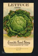 ICEBURG LETTUCE, Everitt's Antique Seed Packet, Indianapolis, Home Decor, 324
