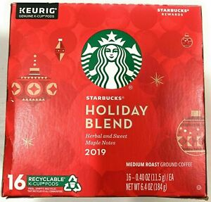 Starbucks Holiday Blend 2019 Medium Roast Ground Coffee Keurig 16 K-Cups 06/2020