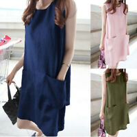 Womens Summer Linen Plus Size Loose Shirt Sleeve Party Beach Mini Bodycon Dress