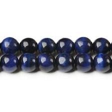 Tiger Eye (Dyed) Round Beads 8mm Blue/Black 40+ Pcs Gemstones Jewellery Making