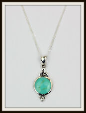 TURQUOISE & STERLING SILVER TRINITY CELTIC PENDANT NECKLACE ~ FREE FAST P&P