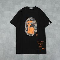 Men's Bape A Bathing Ape Camo Monkey Head Cotton Basic Tee T-shirt Short Sleeve