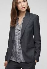 Jigsaw Italian Fabric Tailored Jacket London Pinspot Size 8 Grey 100 Wool