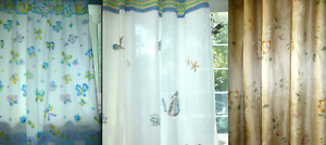 SATURDAY KNIGHT Blue BUTTERFLY Beige VOHANN FLORAL Embroidered SHOWER CURTAIN