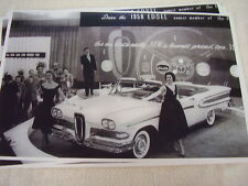 1958 FORD EDSEL CONVERTIBLE AUTO SHOW DISPLAY  11 X 17  PHOTO  PICTURE