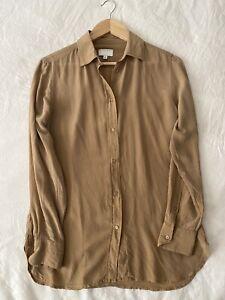 Witchery Brown Silk Shirt 8