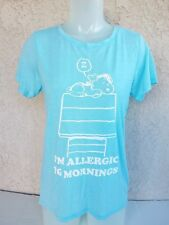 PEANUTS MEDIUM SPOOPY I'M ALLERGIC TO MORNINGS TOP short sleeve BLOUSE M