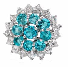Natural Paraiba Apatite Blue and White Topaz Ring 0.925 Sterling Silver size 7