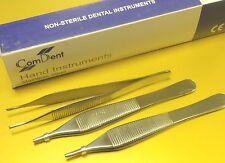 3 Dental Surgical ADSON Tissue Forceps pliers 12cm, Serrated  Teeth 18-646/1
