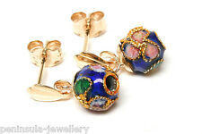 9ct Gold Blue Chinese Enamel Ball drop earrings Boxed Made in UK