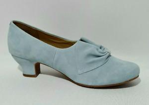 HOTTER | Donna Aqua Blue Suede Slip On Low Cuban Heel Court Shoes | UK 8