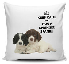 Keep Calm And Hug A Springer Spaniel Cushion Cover - 40cm x 40cm Brand New