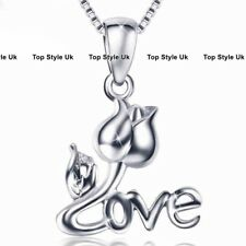 Silver 925 Love Rose Pendant Necklace Chain Xmas Gifts Presents For Her Women E5