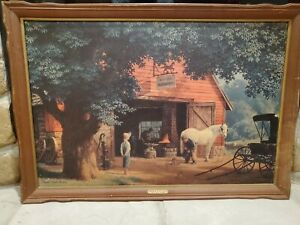"Vintage Paul Detlefsen ""Horse & Buggy Days"" - 40"" x 28"" Framed Print"