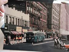 1959 Livingston Street Trolley Bus Brooklyn A&S Theater NYC Color Photo Reprint