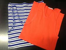 Bonds Orange Blue Striped Sleeveless Tank Top Bundle Cotton Size 10