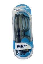 Equate Reading Glasses Clear Lens Black Brown Plastic Frame Readers +1.50 3 pack