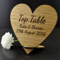 Personalised Wooden Heart Shaped Wedding Top Table Plaque Name Sign