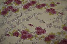 Japanese Silk Fabric cream with white and purple cherry blossom design 1434