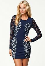 elegantes Mini Abend Clubwear Party Kleid Langarm Minikleid mit Spitze navy Gr L
