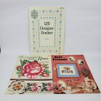 Lot of 3 Counted Cross Stitch Pattern Books Hallmark Designer Borders Roses Frnd