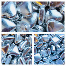 Edible Metallic SILVER Heart Square, Triangle Tablet Shape pearl cake decoration