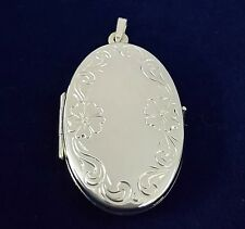 NEW Sterling Silver Oval Locket 925 Pendant Floral Design Free Shipping Options