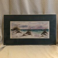 Donna Burgess Beach Watercolor Art Numbered Signed Print Matted NWT