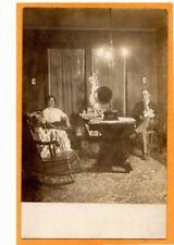Real Photo Postcard RPPC - Woman Man Holding Doll - Phonograph Music