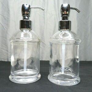 Set of 2 Clear Glass Dispenser Pump Soap Lotion Kitchen Bathroom