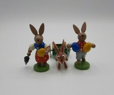 Vintage Lot of 3 Bunny Rabbit w/ Eggs Cart Wooden Figurines Easter