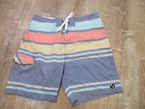 Ezekiel 33 pastel colorful striped Boardshorts Swim Trunks EUC
