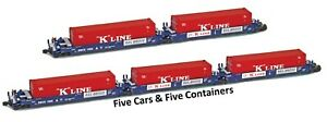 AZL 906506 Z Maxi-I Articulated Doublestack 5-Car Set #1012 w/K-Line Containers