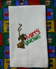 Embroidered MAX the Dog Christmas Kitchen Bathroom WHITE cotton Towel Grinch