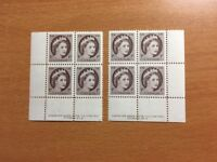 Stamps Canada Sc 337 1c violet brown QE Wilding Pl 9 LL and LR MNH blocks