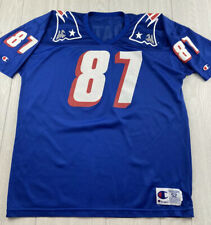 VTG CHAMPION Ben Coates New England Patriots Slanted Numbers Blue NFL Jersey XXL