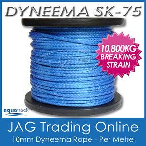 1M 10mm H/DUTY DYNEEMA SK75 SYNTHETIC ROPE-Braid/Spectra/Yacht/4x4/Trailer/Winch