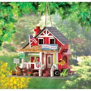 Rustic Polyresin Country Store Wooden Hanging Bird House Garden Decor