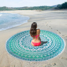 Green Ombre Outdoor Roundie Yoga Mat Round Beach Picnic Towel Mandala Tapestry