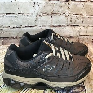 Skechers After Burn Mens Wide Fit Brown Leather Athletic Sneakers Size 8.5 EWW