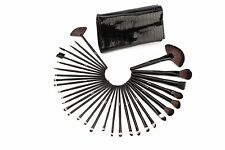 Glow 32 Piece Crocodile Leather Design Professional Makeup Brushes in Black Case