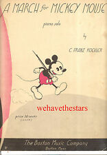 """MICKEY MOUSE Sheet Music """"A March For Mickey Mouse"""" RARE 1934"""